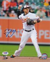 Manny Machado Signed 8x10 Baltimore Orioles Photo - MLB White Throw PSA/DNA