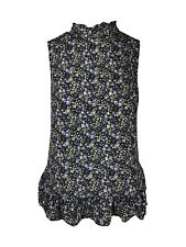 LADIES NEXT PETITE NAVY/BLUE DITSY FLORAL PRINT BLOUSE HIGH RUFFLE NECK TOP 6-16