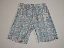 Golf Shorts Size 34 Sky Blue Wavy Plaid Flow Golf FlowGolf