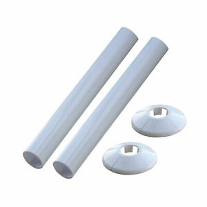 2 X NEW WHITE RADSNAPS RADIATOR PIPE COVERS + COLLARS - FREE UK DELIVERY *
