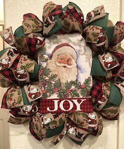 "FARMHOUSE VINTAGE Santa Claus 🎅🏼 CHRISTMAS WREATH Burlap Deco Mesh 22"" x 22"""