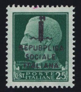 1944 R.S.I. Effige Reale soprastampati n. 491-495+E21-22 con varietà tipografica