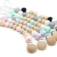Hexagon Silicone Crochet Wood Beads Pacifier Clip Teething Holder Soother Chain