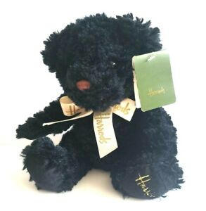 """Harrods London Cuddles Black Teddy Bear Gold Bow Embroidered Foot 11"""""""