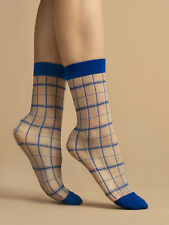 Fiore Klein 15 Patterned Sheer Socks - Blue and White Geometric Plaid