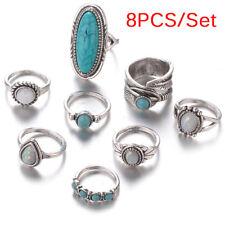 8PCS/Set Bohemian Women Silver Turquoise Finger Ring Opal  Rings Wedding Gift L3