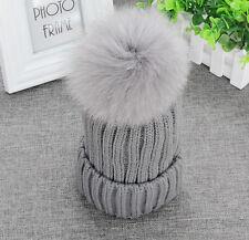 Real Fox Fur Pom Pom Womens Winter Knit Beanie Bobble Hat Crochet Ski Skee Cap