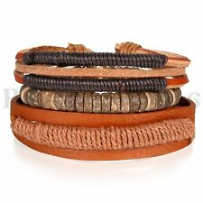 3PCS Handmade Vintage Brown Wristband Leather Rope Cuff Bracelet Wood Bangle Set