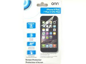 2 Onn Screen Protectors For iPhone 8 Plus 7 Plus & 6/6s Plus Impact Resistant