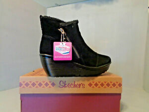 Skechers Women's Parallel- Off Hours Black Siede Ankle Bootie NIB! New! SIzes !