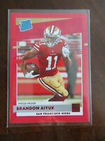 2020 Donruss Football Card Rated Rookie Brandon Aiyuk Press Proof Red Cards NFL