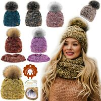 Set Scarf Or Hat Women Winter Alpaca Wool Knitted Beanie Hat Neck Fleece Pom Pom