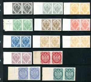 Bosnia 1900 currency change definitive, 13 unm. mint imperforate pairs 1h. – 5k