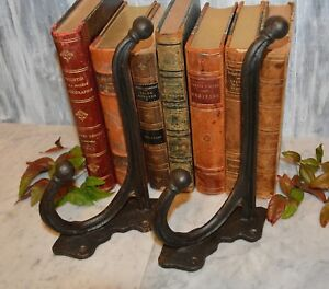 One Antique Large French Double Hook Black Forged Cast Iron Coats, Hats, Robes