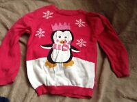GIRLS🎄SPARKLE CROWN PINK PENGUIN SNOWFLAKES 🎄 CHRISTMAS JUMPER  🎅 3-4 YEARS🎅