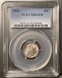 1923 . Mercury Dime . PCGS MS63FB . Choice BU . Full Bands . Slight Toning #315