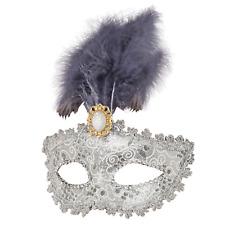 Ladies Silver Feathered Masquerade Ball Mardi Gras Carnival Fancy Dress Eye Mask