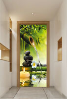 3D Candle Green Bamboo Landscape Self-Adhesive Door Murals Wall Sticker Decor