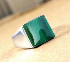 Malachite Gemstone Solid 925 Sterling Silver Husband Gift Mens Ring JewelryRZ