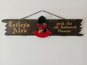 Vintage Tetley's Ale Bitter Pub Wooden Advertising Sign Huntsman with Old Chain