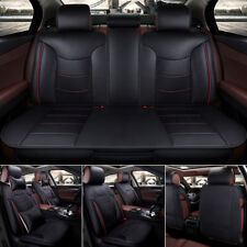 US Stock Car Seat Cover Microfiber Leather 5 Seats for All Seasons Size L Black