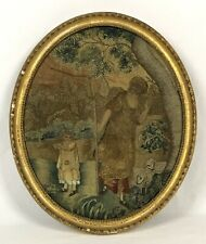 Antique Mother & Child Mourning Picture Embroidery Original Gold Gilt Frame