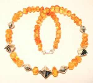 """AMBER  NECKLACE GENUINE BALTIC, STERLING SILVER, 44CM """"NEW"""" AUZ MADE"""