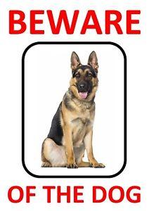 2 x BEWARE OF THE DOG - GERMAN SHEPHERD WARNING *LAMINATED SIGN FUN*