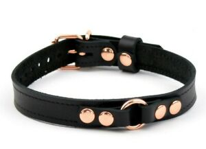 AURUM Deluxe Double Stitched Leather Ring Black & Rose Gold collar Col40BlkRg
