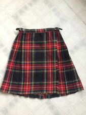 Kilt pleat tartan plaid wool skirt Sz 28 leather Blarney Woolen Mills Ireland