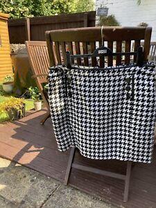 Wallis check Black & White,black button front ,faux leather trim skirt Size 18