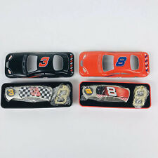 Set of 2 Dale Earnhardt Sr #3 and Jr #8 Knife and Key Chain Sets in Car Tins NIB