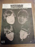 Yesterday John Lennon and Paul McCartney sheet music Northern Songs Beatles