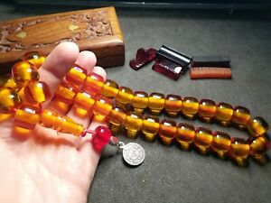XL - %100 Original - Amber Bakelite Prayer Beads, Tesbih, Rosary