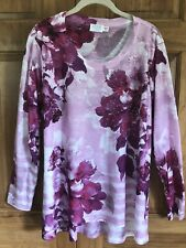 New listing Time and Tru Women's Hi/Lo Floral Tunic Top Long Sleeves Pink Bling L NWOT