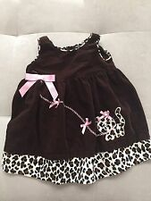 Baby Girl Blueberi Boulevard Dress Size 2T Brown Animal Print With Cat Pink Bows