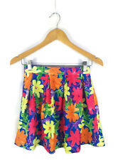 2POINT0 Skirt - Mini Boho Retro Rave Style Blue Green Pink Rainbow Floral - 6/XS