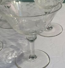 MCM Crystal Flower Etched 4 Vintage Champagne, Wine, Cocktail Stemware
