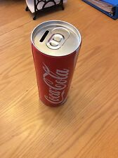 """Coca Cola Large 8"""" Tin Can Bank With Removable Top"""