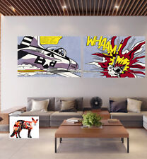 A0 SIZE 2x  CANVAS Print diptych roy lichtenstein WHAAM usa plane unframed