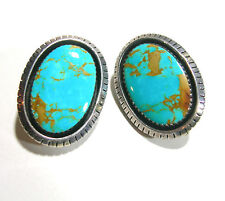 LARGE VINTAGE STERLING SILVER BLUE COPPER TURQUOISE ARTISAN STUDIO CLIP EARRINGS