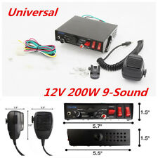 12V 200W 9-Sound Loud Car Truck Warning Police Alarm Horn PA Speaker MIC System