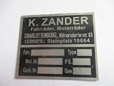 Scudo Piastra auto d'epoca Moto Stemma rivenditore (K). Zander Charlottenburg