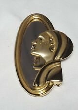 Art Deco Lady at Mirror Pin Gold Tone Woman Brooch Signed AJC