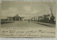 Port Jefferson LI NY Railroad Depot Station ca.1907 Postcard Smoking Locomotive