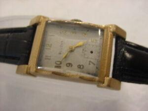 Vintage GOLD PL large antique Art Deco BULOVA mens watch