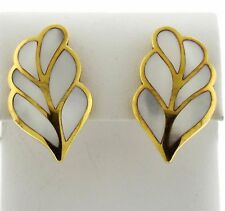 1980s Tiffany & Co 18k Gold Mother of Pearl Inlay Leaf Motif Earrings