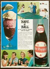 1968 Dr Pepper Print Ad Have a Ball of Ice Cream Sherbet Double Date Ping Pong