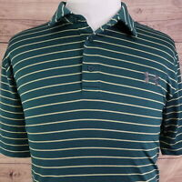 UNDER ARMOUR HEAT GEAR LOOSE SHORT SLEEVE GREEN STRIPED GOLF POLO SHIRT MENS XL