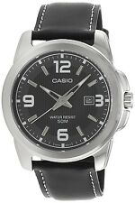 Casio MTP1314L-8AV Men's Grey Dial Analog Watch Black Leather Band Large